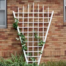 7 75 ft fan shaped garden trellis with pointed finals in white