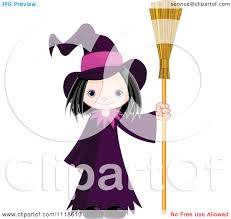 cartoon of a trick or treating halloween kid in a witch costume