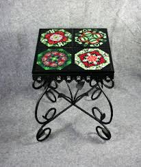 Ceramic Accent Table Mandala Chakra Kaleidoscope Unique Gifts Melbe Creations