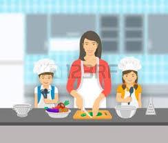 maman baise cuisine maman et fils banque d images vecteurs et illustrations libres