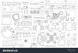 Floor Plan Furniture Store by Set Linear Icons Interior Top View Stock Vector 529598092
