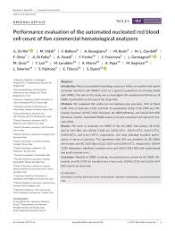 PDF Performance evaluation of the automated nucleated red blood