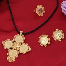 gold big pendant necklace images Bangrui ethiopian gold big coin cross pendant set jewelry wedding jpg
