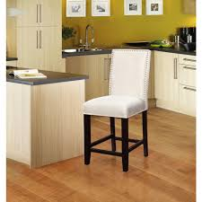 linon home decor stewart 24 in crystal white cushioned bar stool