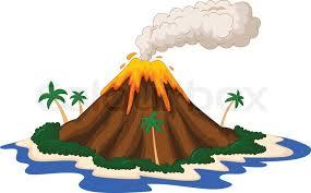 vector illustration of volcanic island cartoon stock vector