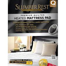 premium luxury quilted heated electric mattress pad queen size