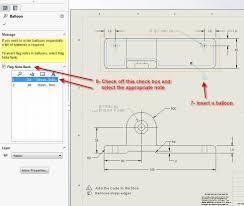 how to link solidworks flag notes to balloons notes in a drawing