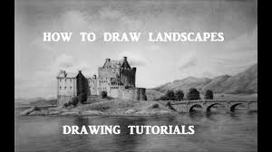 how to draw landscapes castle and mountain scene with bridge and