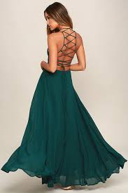 green dress chic forest green dress lace up dress backless dress maxi