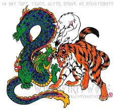 wolf dragon tiger color tattoo by wildspiritwolf on deviantart
