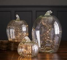 Pottery Barn Evergreen Walk Recycled Glass Pumpkin Candle Cloches Pottery Barn Falling For