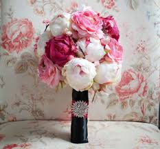 Peonies Bouquet Cherry Blossom And Peony Wedding Bouquet Black And Pink