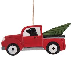black lab in truck ornament painted