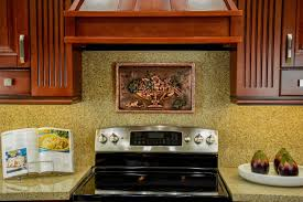 italian still life copper mural backsplash by good directions