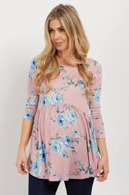 maternity tops pink floral print babydoll maternity top