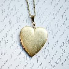 long vintage necklace images Vintage heart locket necklace long chain textured brass jpg