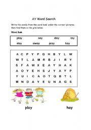 english worksheets ay words