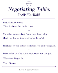 negotiating table the interview thank you note note job