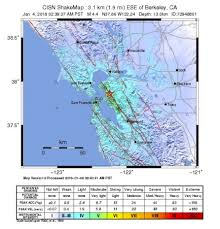 California Fault Map M 4 4 U2013 3km Ese Of Berkeley Ca At 02 39 This Morning On The