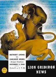 Detroit Lions Shower Curtain Detroit Lions Versus Chicago Bears 1948 Program Painting By John Farr