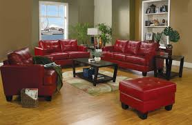 red leather sofa with ottoman for small living room spaces with