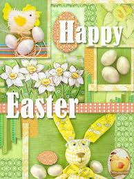 happy easter decorations happy easter greeting card collage with easter decorations