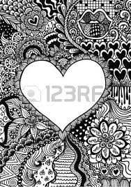 hearted shape on floral background for coloring book page