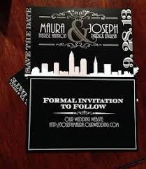 table card art deco old hollywood glam black red wedding