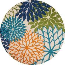 Indoor Outdoor Round Rugs Round 7 U0027 And Larger Round Outdoor Rugs Rugs The Home Depot