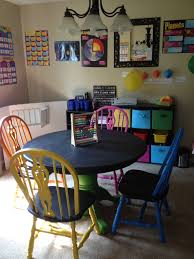 chalkboard paint table and chairs in our homeschool classroom