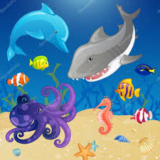 set of vector cartoon sea creatures u2014 stock vector