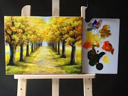 relaxing painting videos autumn tree lined road in acrylics tutorial part 1 youtube