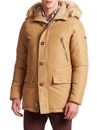 michael kors arctic fox fur trimmed parka in natural for men lyst