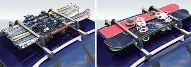 porta snowboard per auto portasci scorrevole da tetto silver per 6 paia di sci o 4