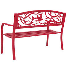 Park Bench And Table Rose Red Steel Patio Garden Park Bench Outdoor Living Patio