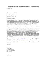 cover letter for no specific job speculative cover letters resume