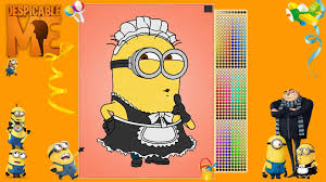 despicable me minion phil in costume of maid coloring pages youtube