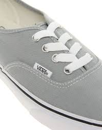 light gray vans womens lyst vans authentic classic grey white lace up trainers in gray