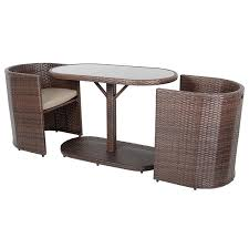 latina bistro garden glass table furniture set with two rattan