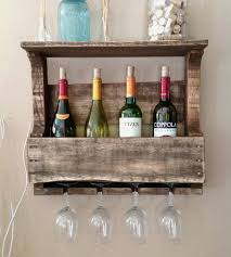 small 4 bottle reclaimed wood wine rack with shelf home kitchen