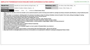 pattern maker resume patternmaker wood resume resumes sles templates format