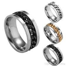 all promise rings images Mens womens metal wedding ring with chain channel engagement band jpg
