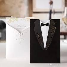 Cheap Wedding Invitation 2016 Custom Made Cheap Wedding Invitations Black Suits Style