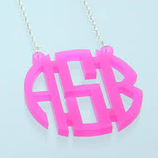Circle Monogram Necklace Acrylic Circle Monogram Necklace Pink U2013 Zion Lion