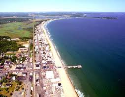 Beach House Rental Maine - areal view of the old orchard beach maine shoreline where