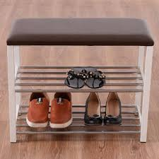 goplus 3 tier storage shoe rack bench seat organizer shelf home