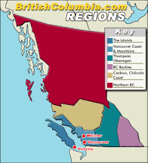 map of bc map of columbia regions columbia travel and