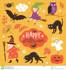Happy Halloween Icons Set Of Cute Vector Halloween Elements Stock Vector Image 44937581