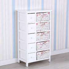 Bedroom Storage Cabinets by Bedroom Storage Dresser Chest 5 Drawers W Wicker Baskets Cabinet