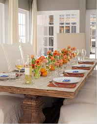 thanksgiving tablescape of orange green daley decor with debbe